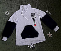 Батник с кармашками эко мех, трикотаж на флисе, размер 128-152, серый+темно синий, фото 1