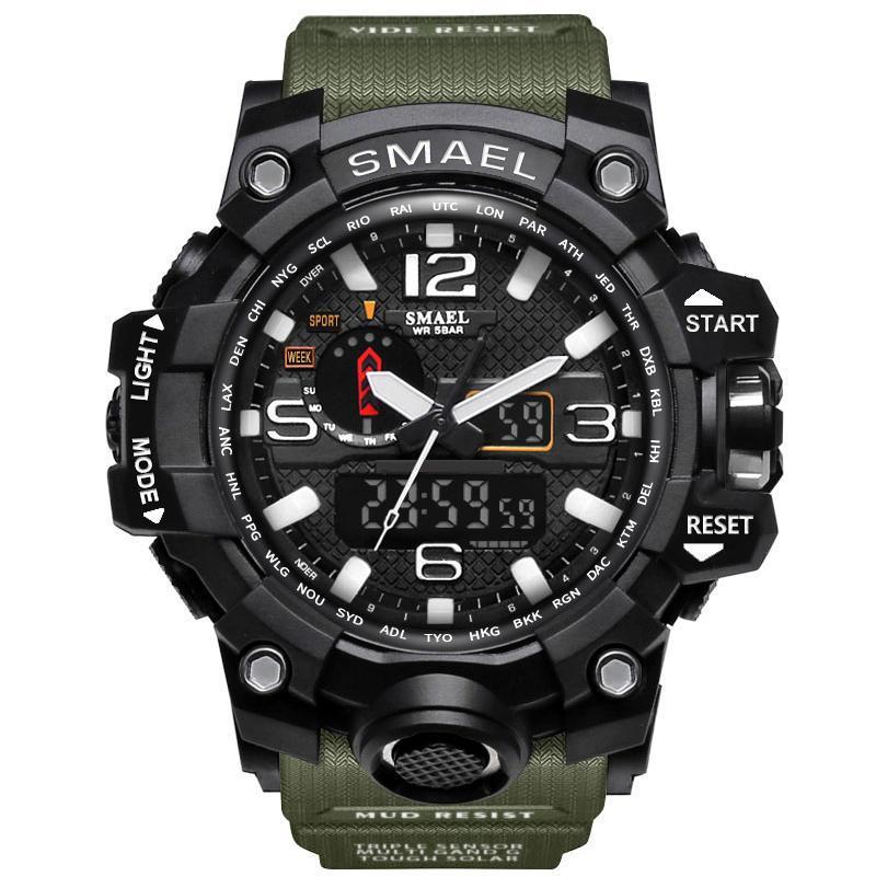 Smael 1545 зеленые мужские спортивные  часы