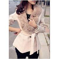 Женское короткое пальто / женское пальто с меховым воротником