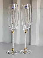 Свадебные бокалы с хрустальной ножкой