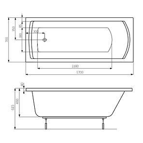 LINEA ванна 1700*700мм, с ножками ROCA A24T034000, фото 2