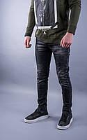 Джинсы мужские классические темно-серые модные с потёртостью прямые тёмные серые джинсы Размер:29,32