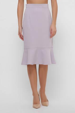 Прямая светлая юбка миди с воланами, фото 2