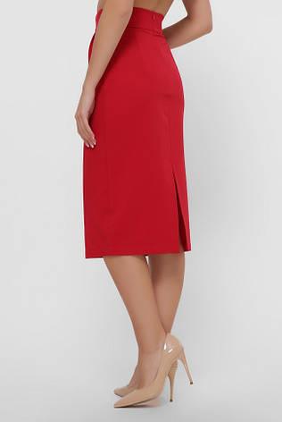 Красная юбка миди, зауженная к низу, с оригинальным поясом, фото 2