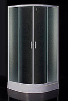 """TISZA душевая кабина 80*80*185 см, на мелком поддоне, профиль белый, стекло """"Zuzmara"""" (стекла+двери) EGER 599-020/1"""