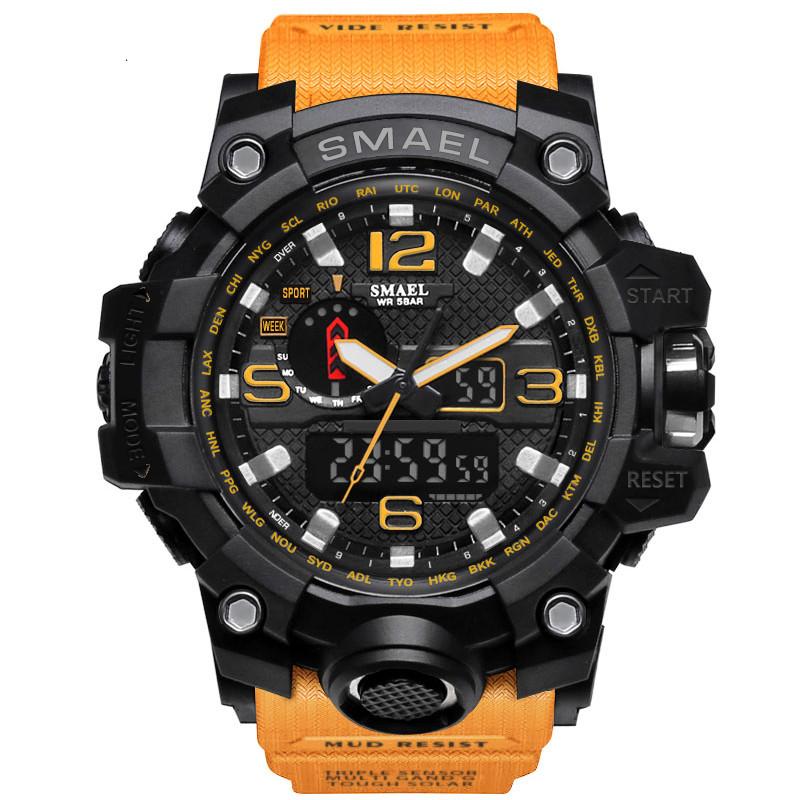 Smael 1545 оранжевые мужские спортивные  часы