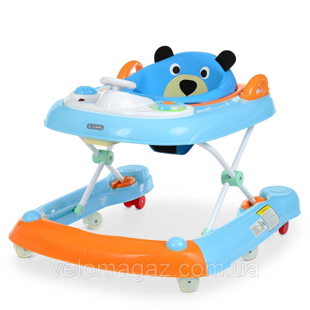 Детские ходунки ME 1055 BEAR BLUE с музыкальным блоком, голубой цвет