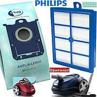 Комплект Philips оригинал - мешки пылесборники S bag fc 8022 04 и фильтр хепа 13 моющийся для пылесоса Филипс