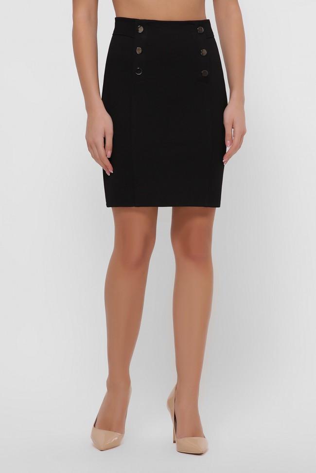 Черная юбка мини прямого кроя с кокеткой на кнопках