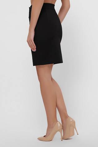Черная юбка мини прямого кроя с кокеткой на кнопках, фото 2