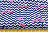 """Лоскут ткани """"Фламинго на синем зигзаге"""" (№2208). размер 27*80 см, фото 3"""