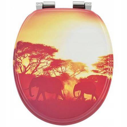 Сиденье для унитаза, микролифт, фанера, Natural style, стульчак  Africa, фото 2