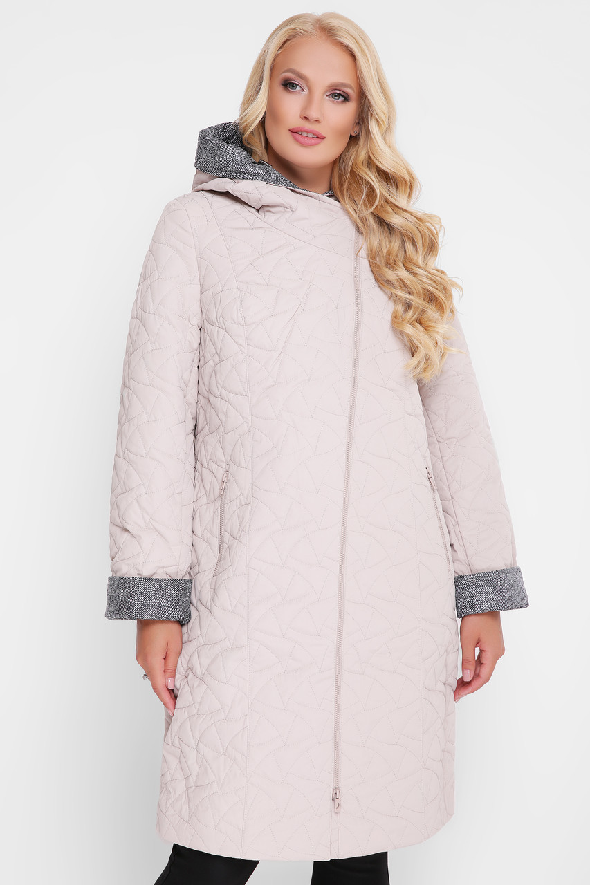 Элегантное женское демисезонное пальто Косуха пудра с 50 по 60 размер