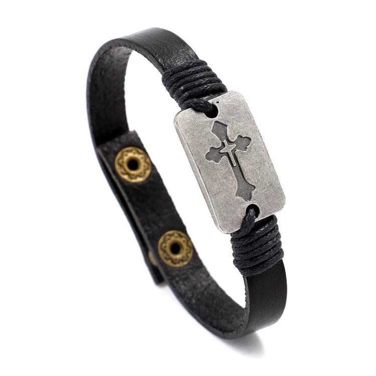 Наручный кожаный браслет «Autentic» с крестом в черном цвете
