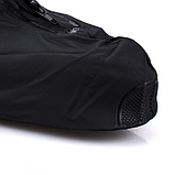 Бахилы для обуви от дождя, снега, грязи 2Life XL многоразовые, с молнией и шнурком-утяжкой Черный (n-469), фото 5