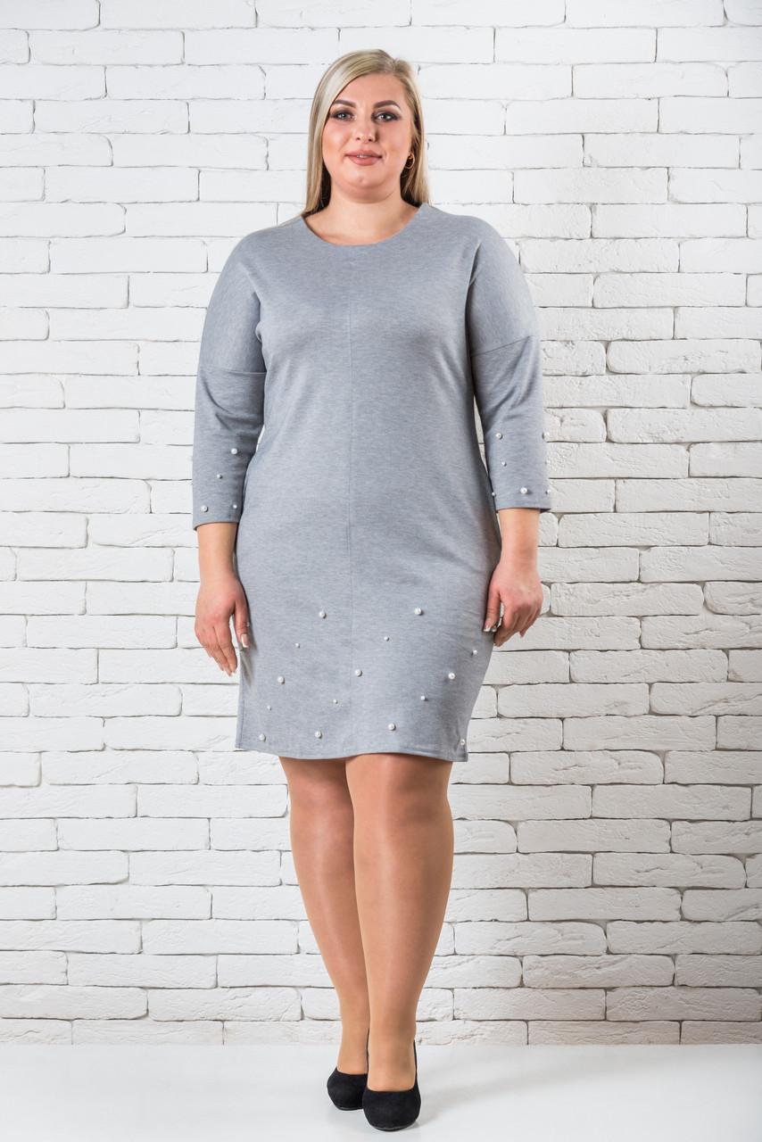 Платье женское большой размер  52-58 светло-серый