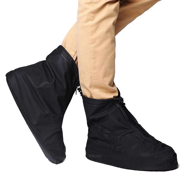 Бахилы для обуви от дождя, снега, грязи VOLRO XL многоразовые, с молнией и шнурком-утяжкой Черный (vol-469)