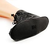 Бахилы для обуви от дождя, снега, грязи VOLRO XL многоразовые, с молнией и шнурком-утяжкой Черный (vol-469), фото 3