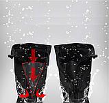 Бахилы для обуви от дождя, снега, грязи VOLRO XL многоразовые, с молнией и шнурком-утяжкой Черный (vol-469), фото 6