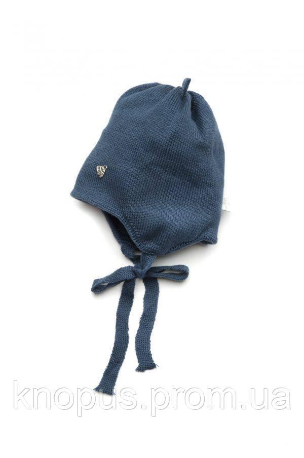 Демисезонная шапка для новорожденного на хлопковой подкладке с завязками, Модный карапуз, размер 36-38