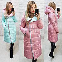 Wow!!! Двухсторонняя куртка еврозима с капюшоном, арт 1007,цвет нежно голубой + розовый, фото 1