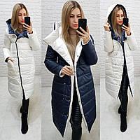 Wow!!! Двостороннє пальто еврозима з капюшоном, арт 1007,колір темно синій + білий, фото 1