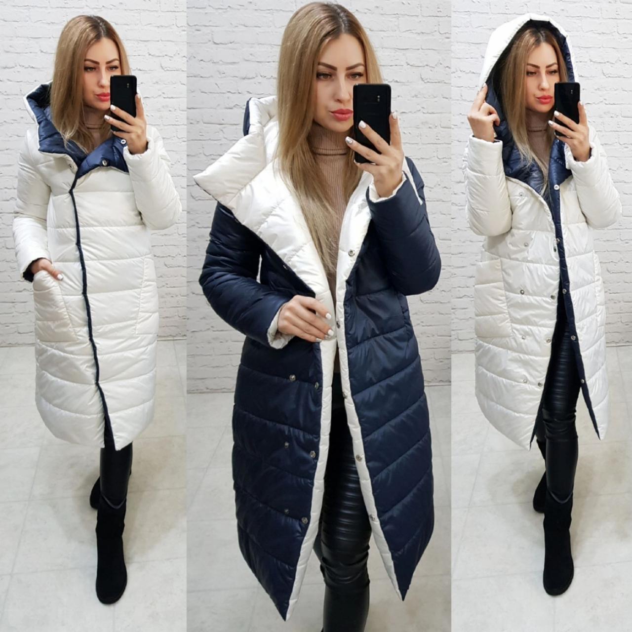 Wow!!! Двостороннє пальто еврозима з капюшоном, арт 1007,колір темно синій + білий