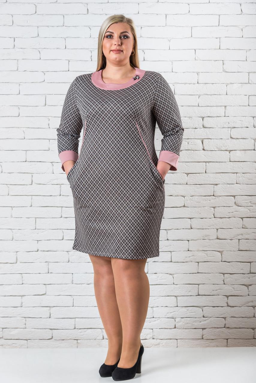 Нарядные платья женские больших размеров  50-56 клетка