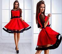 Нарядное платье с прозрачными рукавами и пышной юбкой  Comely Red, M