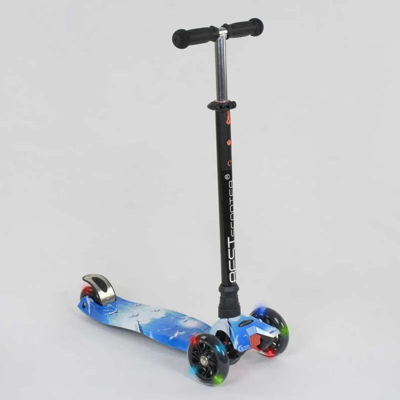 """Самокат А 24658/779-1307 MAXI """"Best Scooter"""" пластмассовый, 4 колеса PU,свет,трубка руля алюминиевая, d=12 см"""