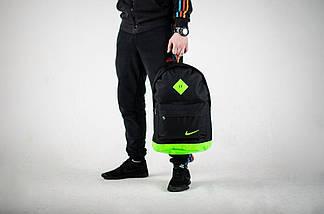 Хитовая расцветка. Рюкзак NIKE /Найк портфель черный с салатовым. Ромб, фото 3