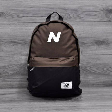 Трендовый рюкзак New Balance, Нью Бэланс. NB. Коричневый с черным, фото 2