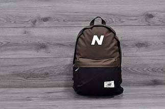 Трендовый рюкзак New Balance, Нью Бэланс. NB. Коричневый с черным, фото 3