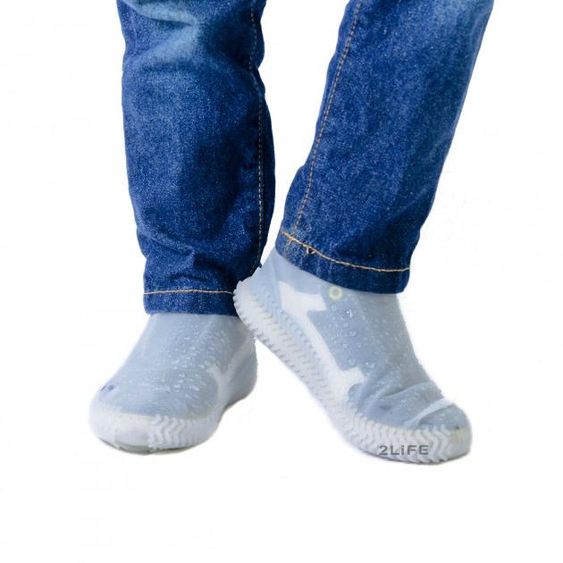 Бахилы для обуви от дождя, снега, грязи 2Life M многоразовые, силиконовые Белый (n-470)