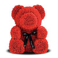 """Мишка из роз 3D, 25см """"Bear Flowers"""" (красный)"""