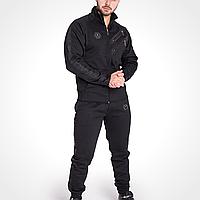 Костюм спортивный мужской на флисе черный, комплект Fhilipp Plein