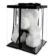 """Мишка из роз 3D, 25см """"Bear Flowers"""" (белый) + подароч. упаковка"""
