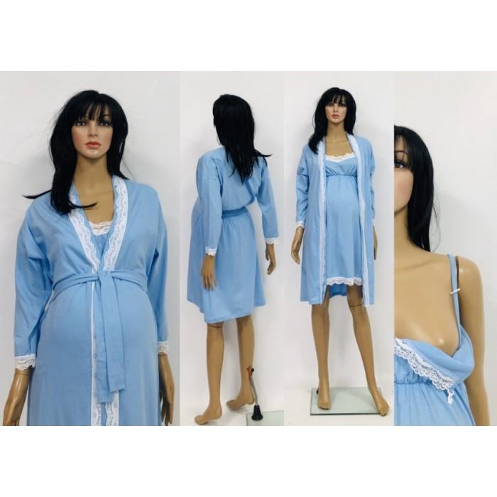 Ночнушка с халатом с отделкой из кружева для беременных и кормящих мам 44-50 р