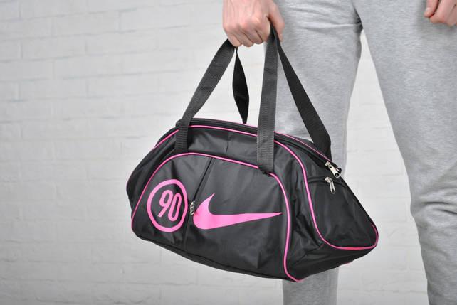 Женская спортивная сумка найк, Nike с плечевым ремнем. Черная с розовым., фото 2