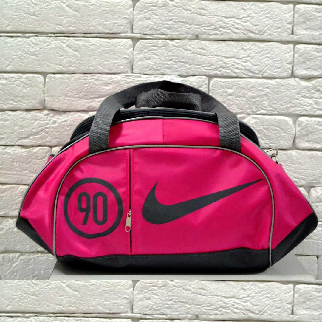 Женская сумка найк, Nike 90 спортивная с плечевым ремнем. Розовая с серым.