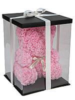 """Мишка из роз 3D, 25см """"Bear Flowers"""" (нежно-розовый) + подароч. упаковка"""