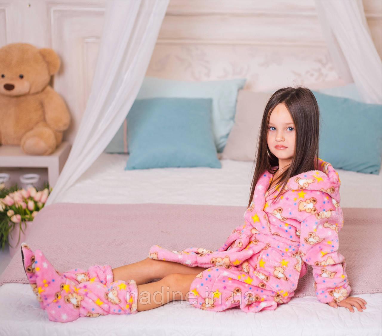Детский халатик Мишутка Eirena Nadine (625-10) с сапожками на рост 110 розовый
