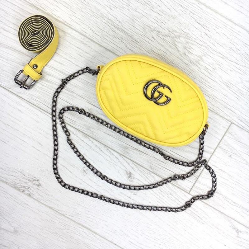 Женская бананка, поясная сумка гучи, Gucci, кроссбоди. Желтая / 8809