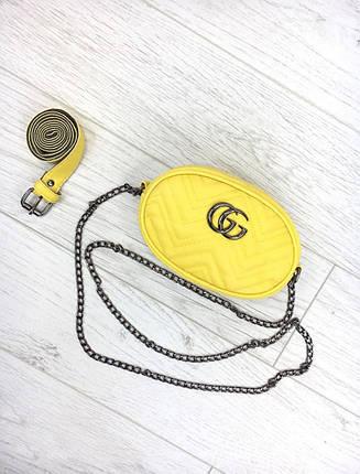 Женская бананка, поясная сумка гучи, Gucci, кроссбоди. Желтая / 8809, фото 2