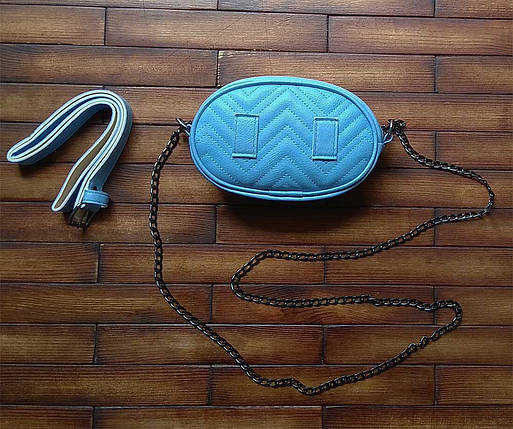 Женская бананка, поясная сумка гучи, Gucci, кроссбоди. Голубая / 8812, фото 2