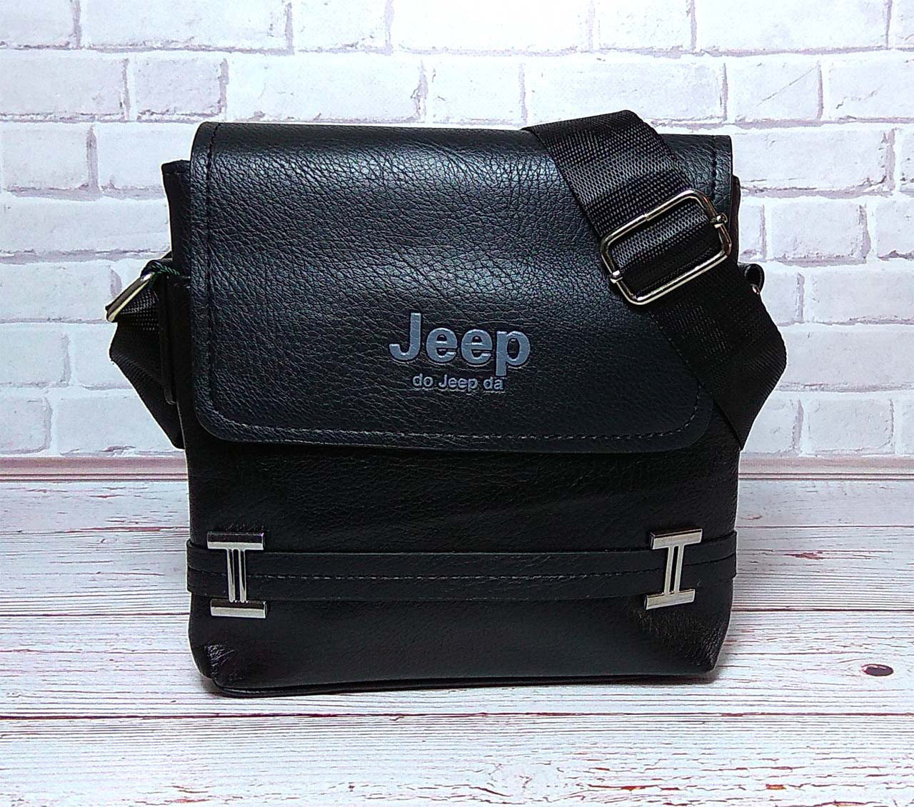 Мужская сумка через плечо Jeep. Черная. 21см х 19см / Кожа PU. 554 black