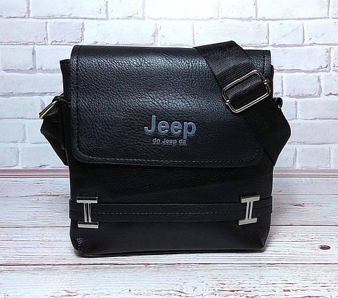 Мужская сумка через плечо Jeep. Черная. 21см х 19см / Кожа PU. 554 black, фото 2