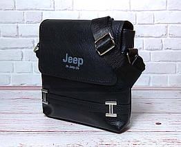 Мужская сумка через плечо Jeep. Черная. 21см х 19см / Кожа PU. 554 black, фото 3