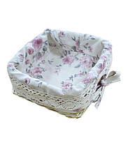 Хлебница плетеная Bella с чехлом Розы
