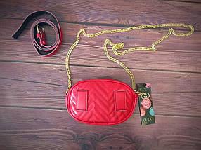 Женская бананка, поясная сумка гучи, Gucci, кроссбоди. Красная / 88103 G, фото 2